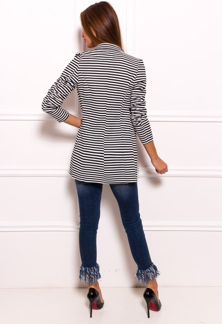 Glamadise.sk - Dámsky blazer bez zapínania čierno - biela s pruhmi -  Glamorous by Glam - Saká a blejzre - Dámske oblečenie - GLAM cd3bd0d4a17