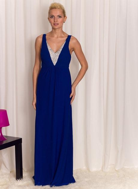 Glamadise.sk - Spoločenské dlhé šaty so strieborným zdobením - modrá -  Luccama - Dlhé šaty - Dámske oblečenie - GLAM e4df4cfad33