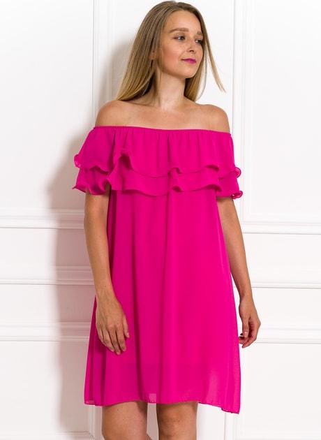 Glamadise.sk - Dámske letné šaty s volánom fuchsiovej - Glamorous by Glam -  Letní šaty - Šaty 332ed452f0f
