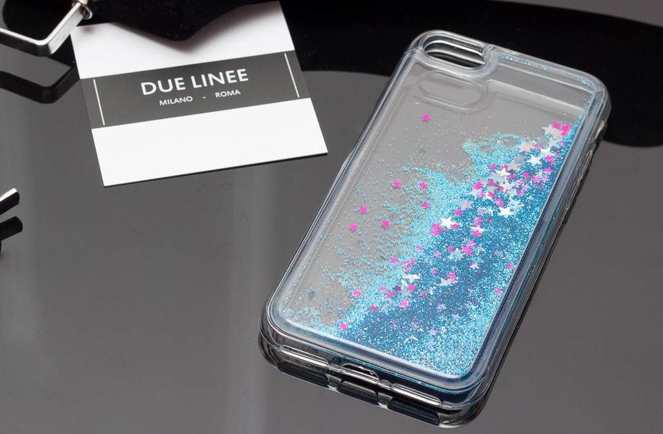 Glamadise.sk - Kryt na Iphone 7 8 - s trblietkami a hviezdami - modrá - Due  Linee - Kryty iPhone 7 8 - Doplnky - GLAM bd7c5b3c9a6