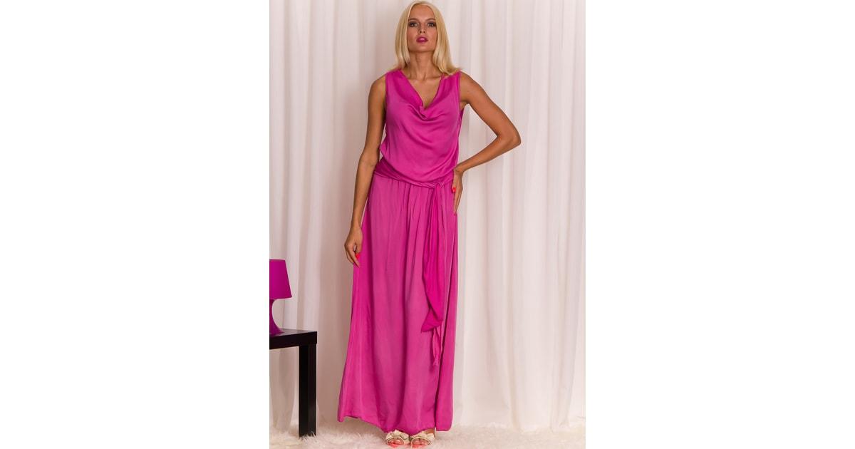 Glamadise.sk - Dámske dlhé šaty fuchsiovej s Viazanie - Glamorous by Glam - Dlhé  šaty - Dámske oblečenie - GLAM 08c511e6f8e