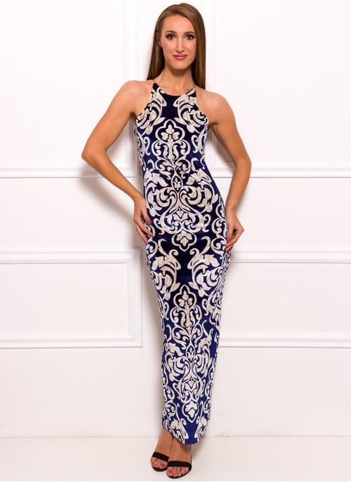 Společenské dlouhé šaty s motivem květin - modrá ... 38e8e80737