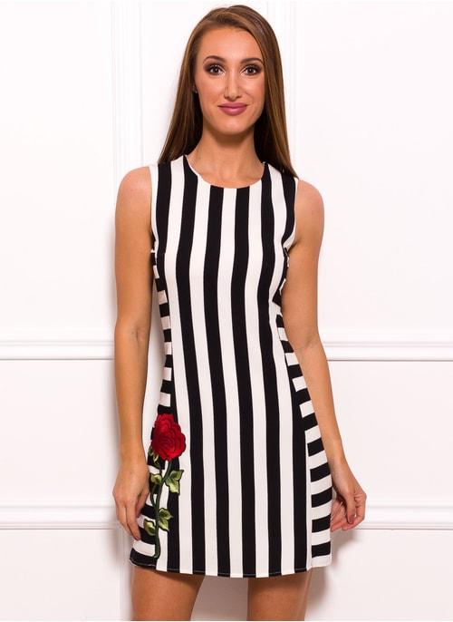 ... Dámske elegantné šaty s pruhmi a červenou ružou 265c2645599