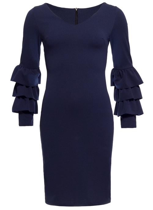 Dámske luxusné šaty s dlhým rukávom a volány - tmavo modrá ... 590fcad93b4