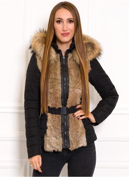 Dámska zimná bunda s pravým králikom a mývalovcem čierna ... 671b930d0c6