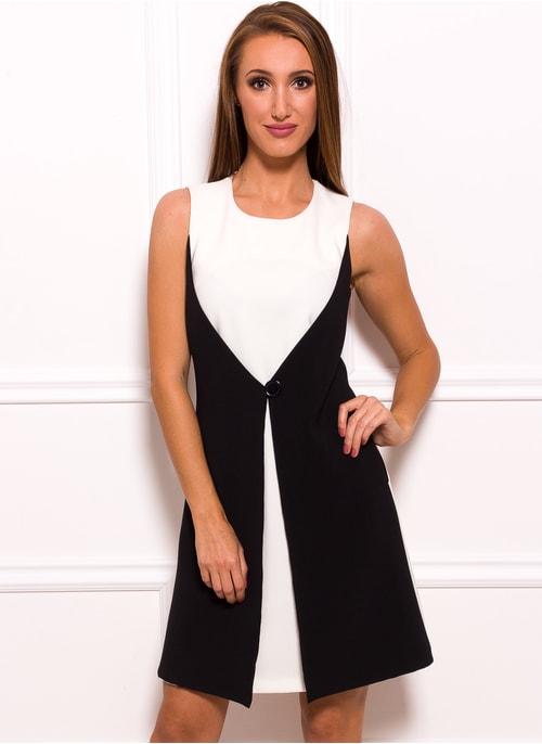 ... Dámské elegantní šaty černo - bílé s knoflíkem c0644d9485