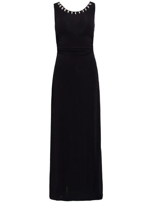 cc7705e6b4a Společenské dlouhé šaty se zlatým zdobením - černá ...