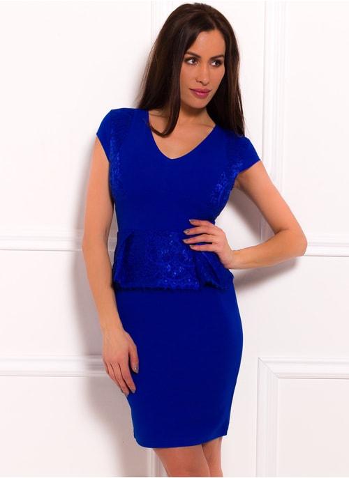 Dámské šaty peplum a krajkou - královsky modrá ... 6a204d42fc1