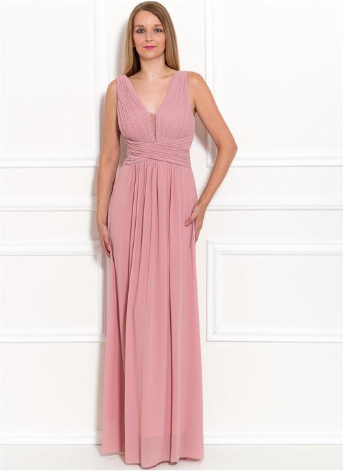 Spoločenské dlhé šaty jednoduché skladané - ružová ... 1d9cc7767ef
