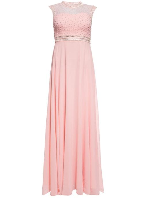 73149b668f7 Společenské luxusní dlouhé šaty s perličkami - světle růžová ...