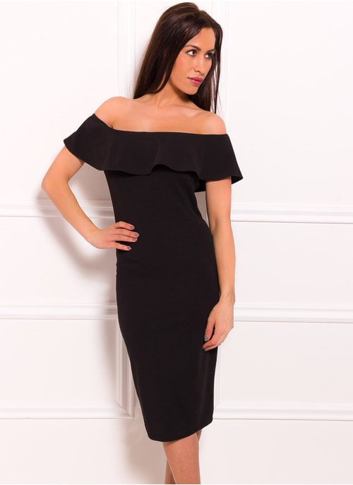 Dámské eleganntí šaty s volnými rameny - černá ... 46cca22069