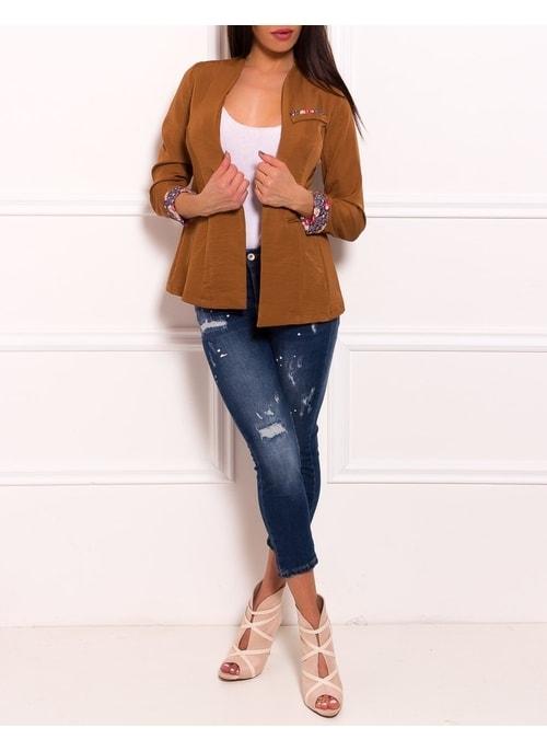 ... Dámske sáčko k jeans s aplikáciami - okrová a6719e07027