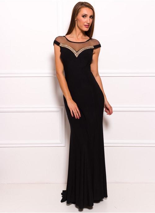 Společenské dlouhé šaty se zdobeným dekoltem - černá ... f52fd3f912