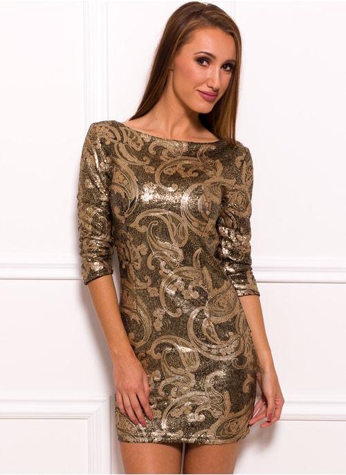 Dámska šaty s flitrami - zlatá ... 7a27c1f30f1