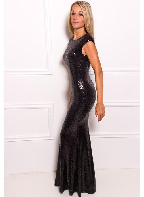 ... Společenské luxusní dlouhé šaty s flitry - černá 8a414a7010