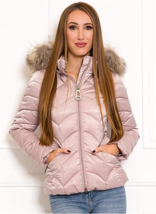 Női téli kabát eredeti rókaszőrrel Due Linee - Rózsaszín ... 5102209eaa