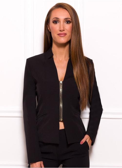 Dámské elegantní sako na zip - černá ...
