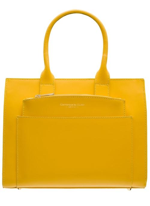 Žlutá dámská kabelka do ruky s kapsičkou ... ca85546212