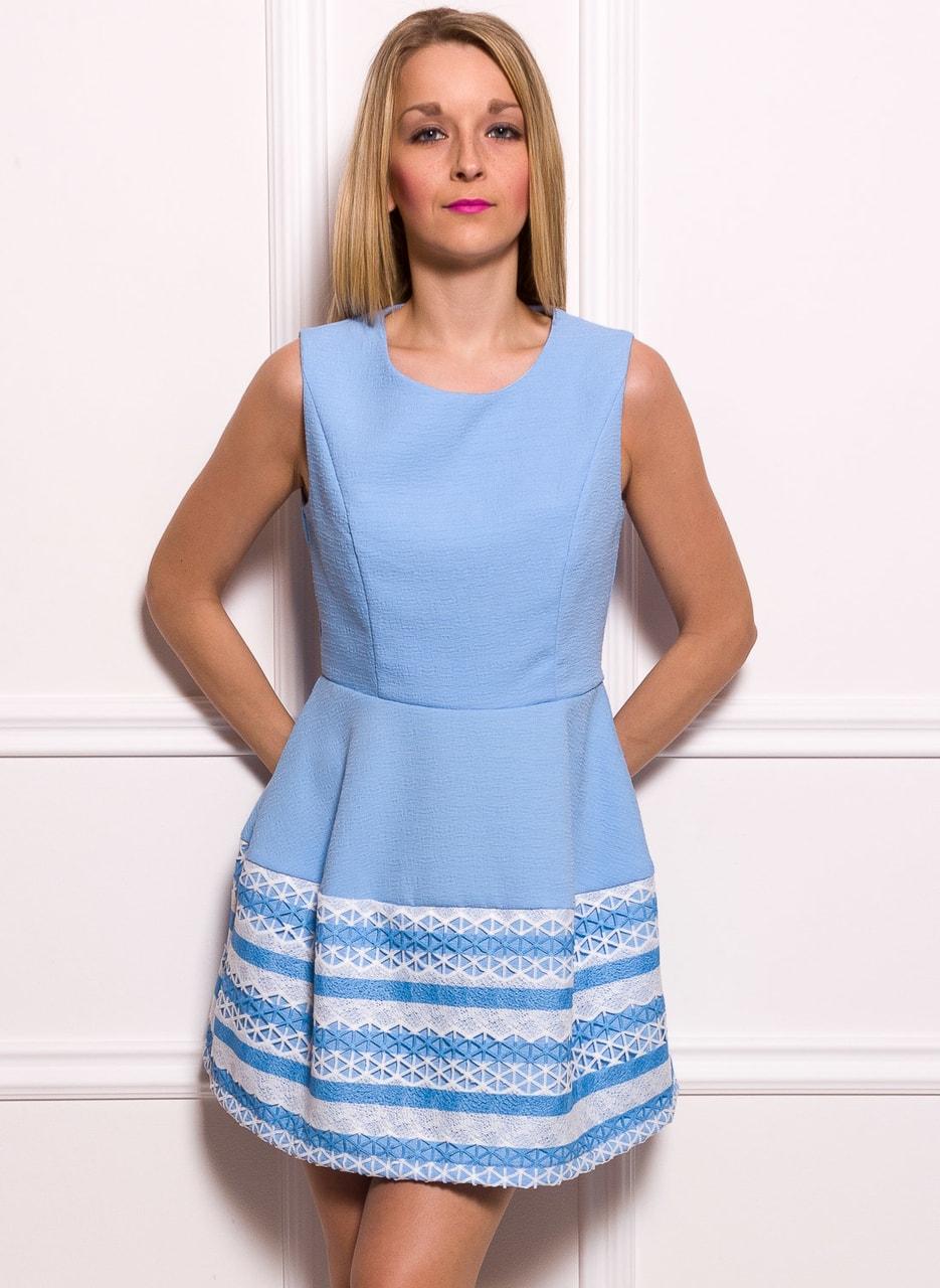 Dámské elegantní šaty A střih bílo - modrá - Due Linee - Promoce a ... f0afc6b642