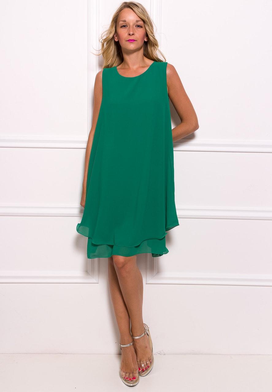 Glamadise.sk - Dámske šifónové dlhšie šaty voľný strih - zelená ... 296f41f0762