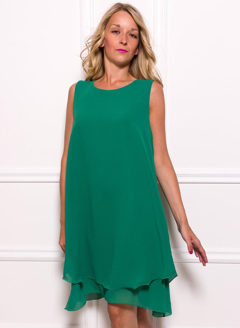 Glamadise.sk - Dámske šifónové dlhšie šaty voľný strih - zelená ... 7676233a11