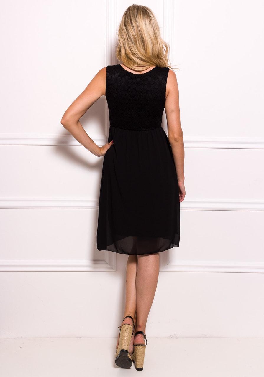Glamadise.sk - Dámske šifónové šaty s čipkou so zipsom - čierna ... 059687f943