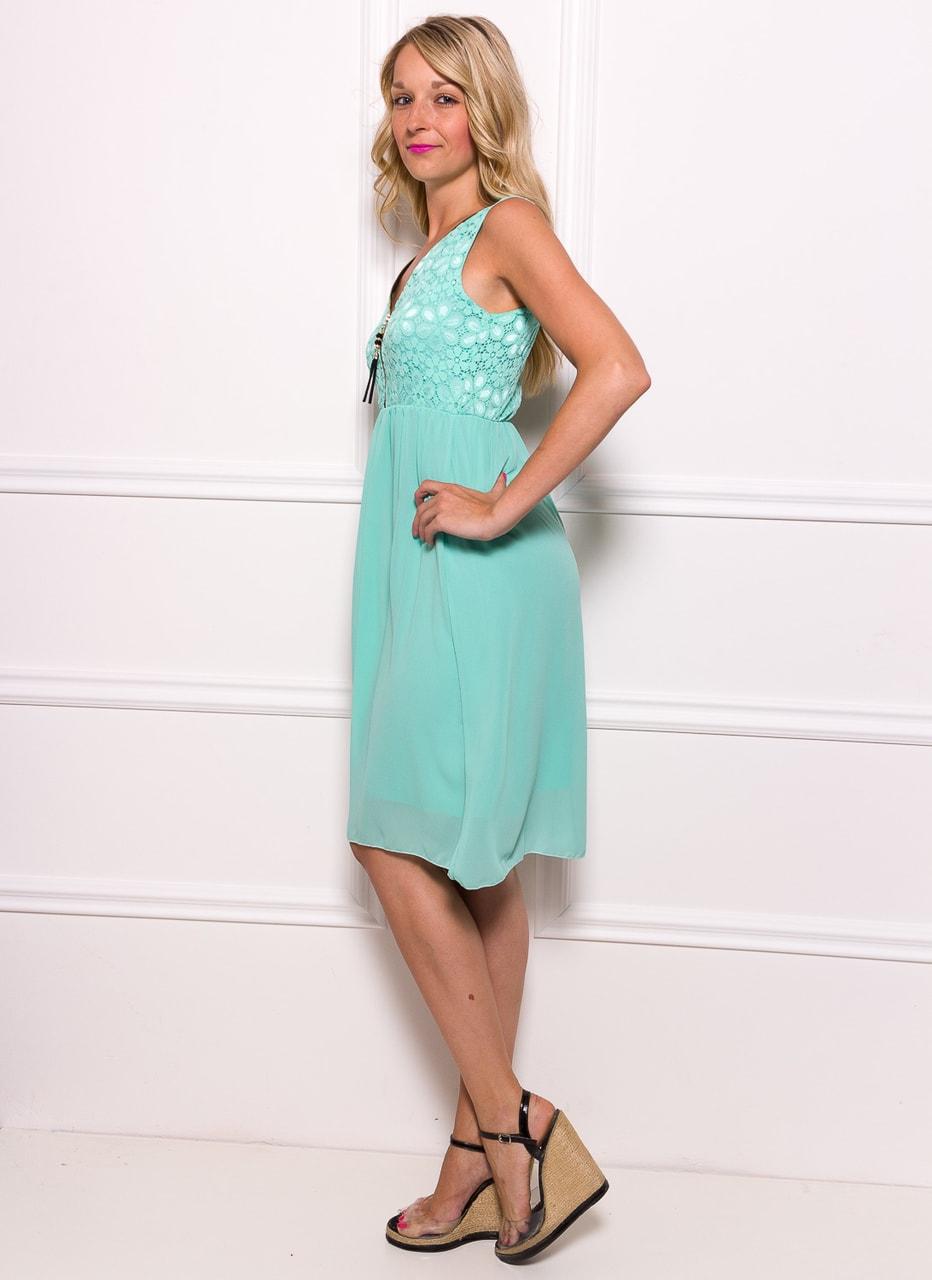 Dámské šifonové šaty s krajkou se zipem - zelená - Glamorous by Glam ... bfcb94017e