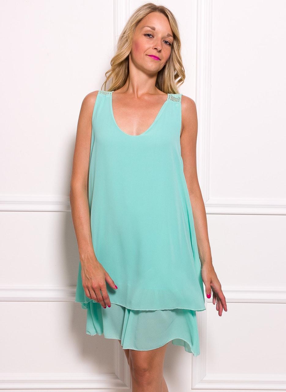 Glamadise.sk - Dámske šifónové šaty voľné s čipkou - zelená ... d0446f71ab