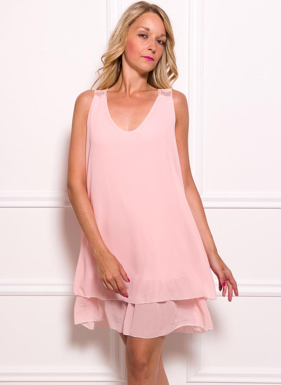 439cce7a893 Dámské šifonové šaty volné s krajkou - růžová - Glamorous by Glam ...