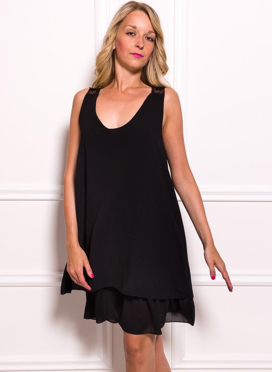 Glamadise.sk - Dámske šifónové šaty voľné s čipkou - čierna ... 0bc3093711