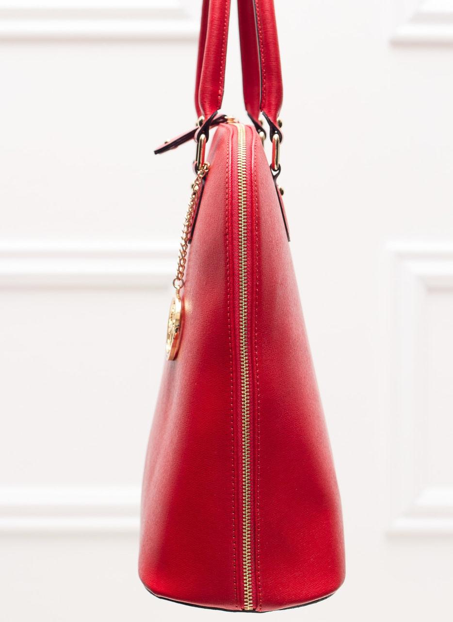 Kožená kabelka pevná - červená - Glamorous by GLAM - Kožené kabelky ... f9c836bd52
