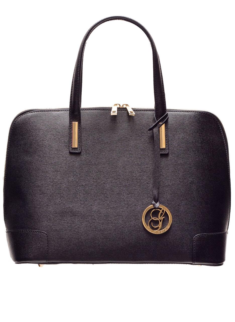 Glamadise.sk - Dámska kožená kabelka so zlatým zdobením - čierna ... 831d22b43aa
