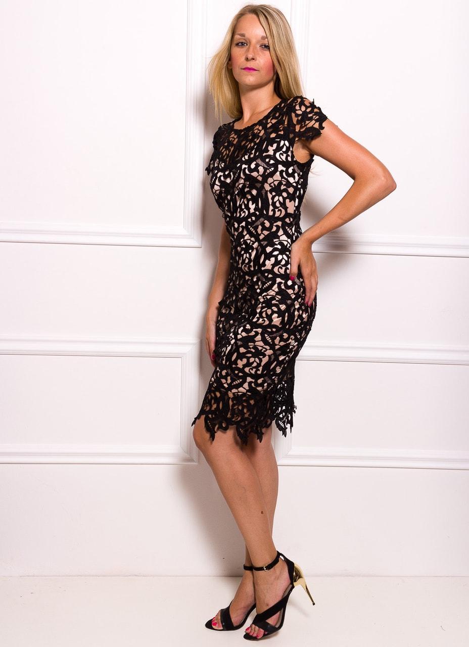Dámské luxusní krajkové šaty - béžová - Due Linee - Každodenní šaty ... c385f269a9