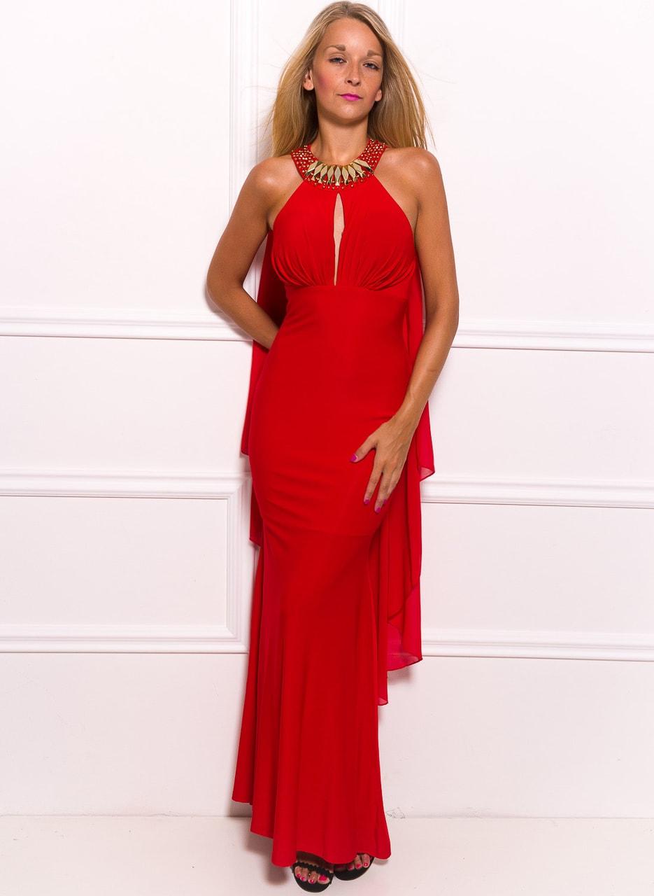 Společenské dlouhé šaty se zdobením kolem krku a šálem - červená ... 9abc5d1486
