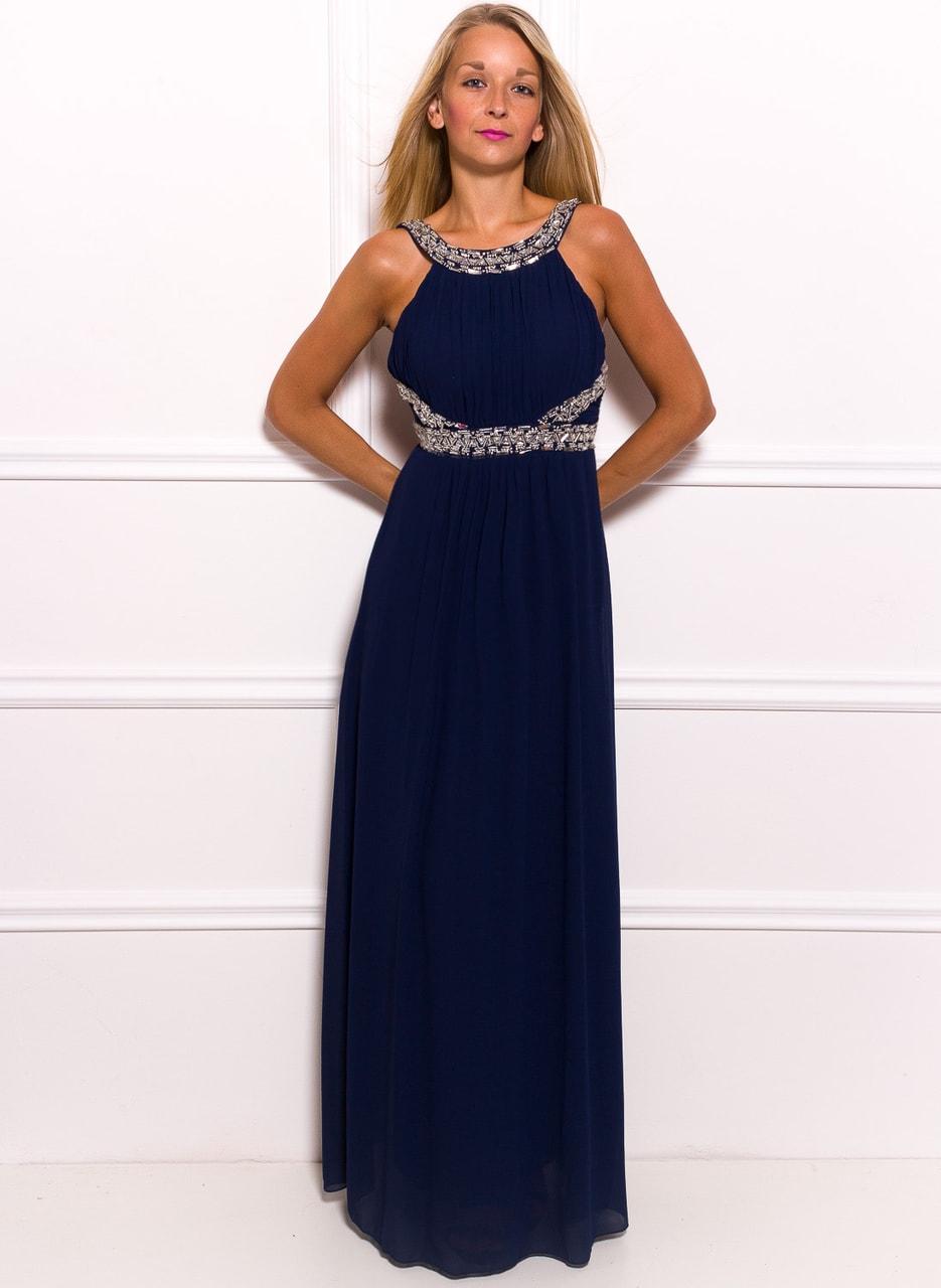 Společenské dlouhé šaty se stříbrným zdobením - tmavě modrá - Due ... c54094f397