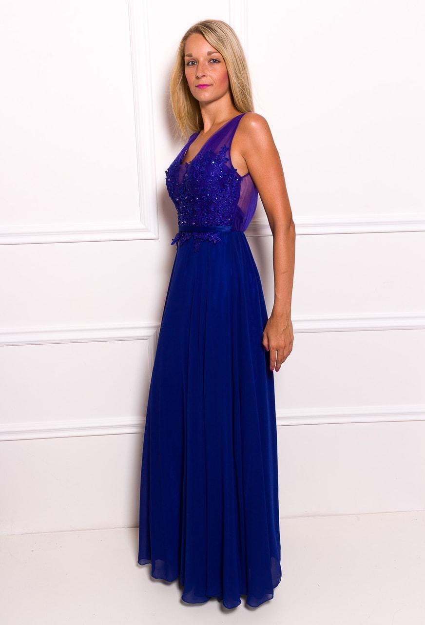Společenské dlouhé šaty s krajkou a korálky - královsky modrá - Due ... 4eb887fec0