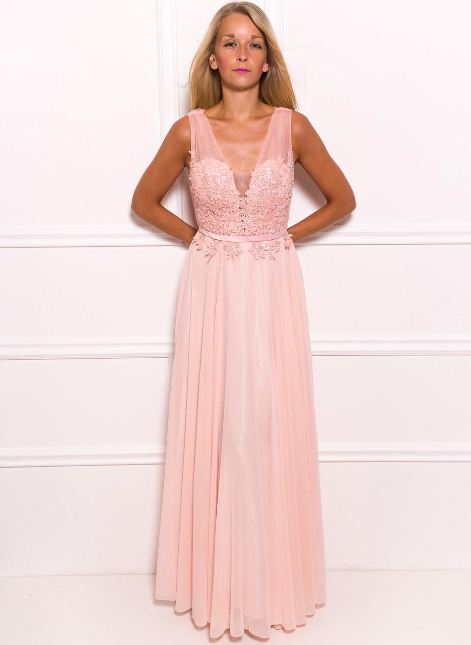 12f6bb5bca7 Společenské dlouhé šaty s krajkou a korálky - světle růžová - Due ...