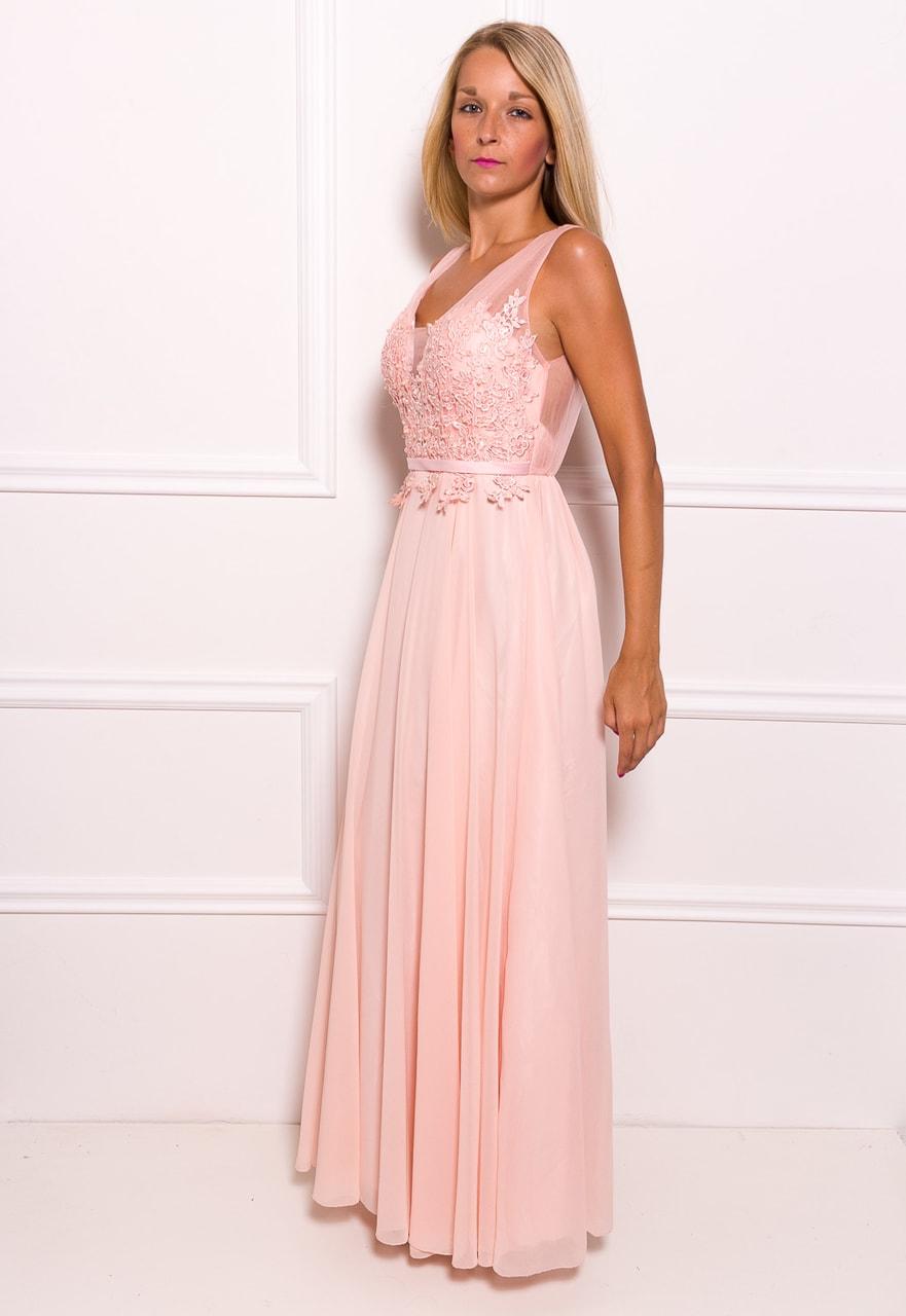 a74d4cc5f04 Společenské dlouhé šaty s krajkou a korálky - světle růžová - Due ...