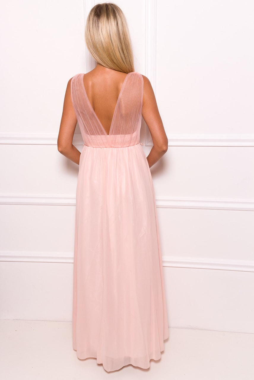 Společenské dlouhé šaty s krajkou a korálky - světle růžová - Due ... 8d8159fbdf