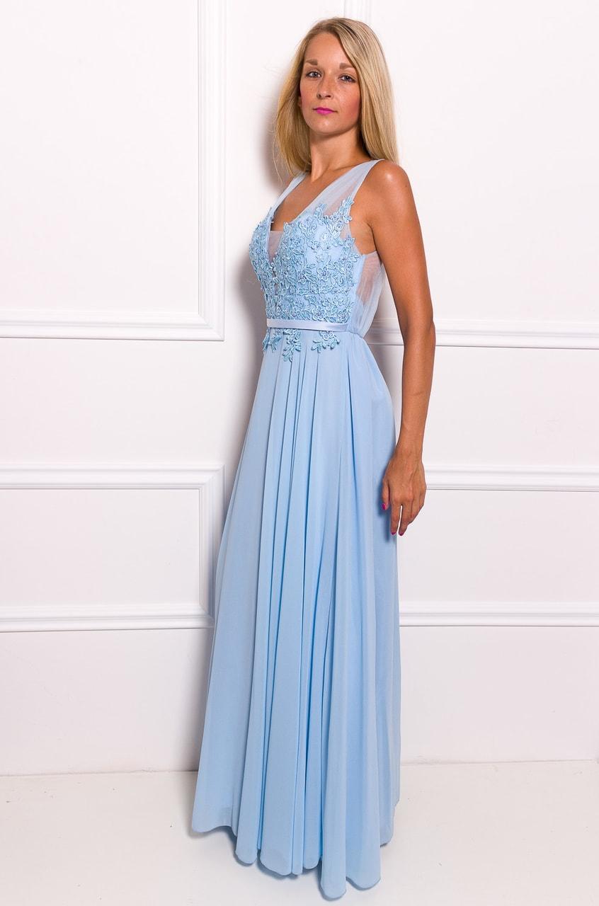 Společenské dlouhé šaty s krajkou a korálky - světle modrá - Due ... 2e1af90b870