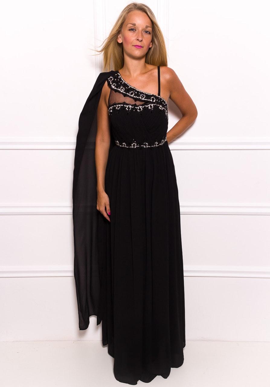 Glamadise.sk - Spoločenské dlhé šaty na jedno rameno s čiernym ... d282c47be0e