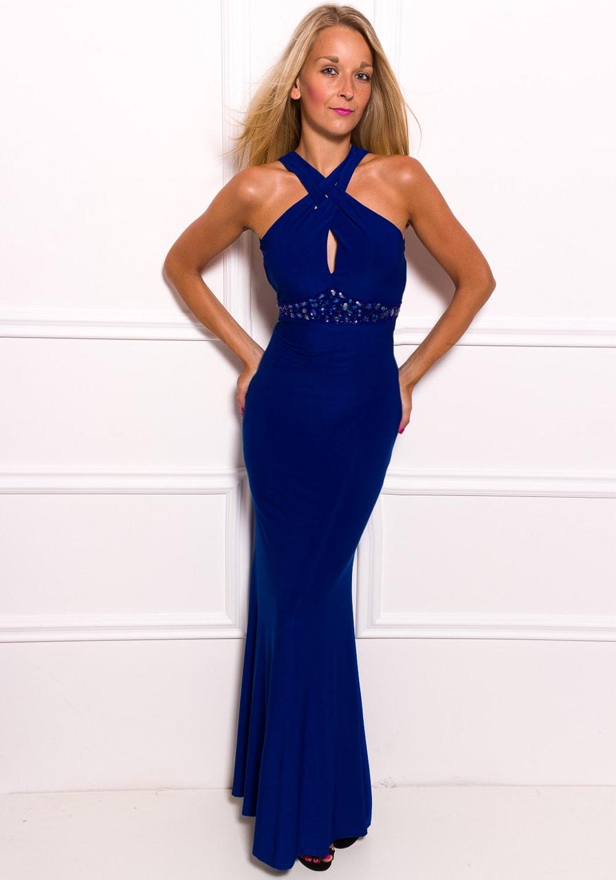 Glamadise.sk - Spoločenské dlhé šaty jednoduché sa zdobením - modrá ... 82ccdf9655b