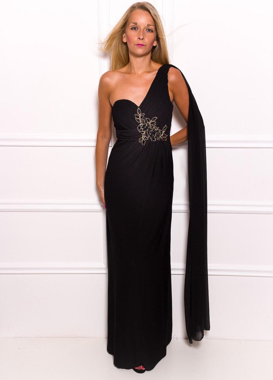 Společenské dlouhé šaty na jedno rameno se šálem a korálky - černá 79e443a66d
