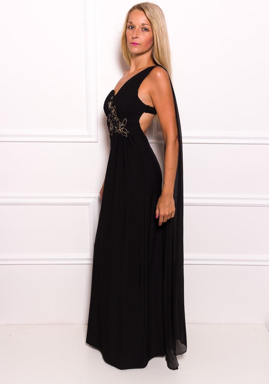 Společenské dlouhé šaty na jedno rameno se šálem a korálky - černá ... 41e7e9466fb
