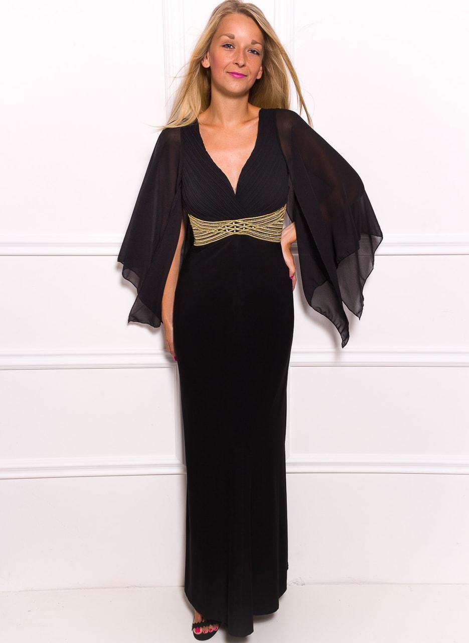 Glamadise.sk - Spoločenské dlhé šaty s šifónovými rukáv - čierna ... 95d57ffb430