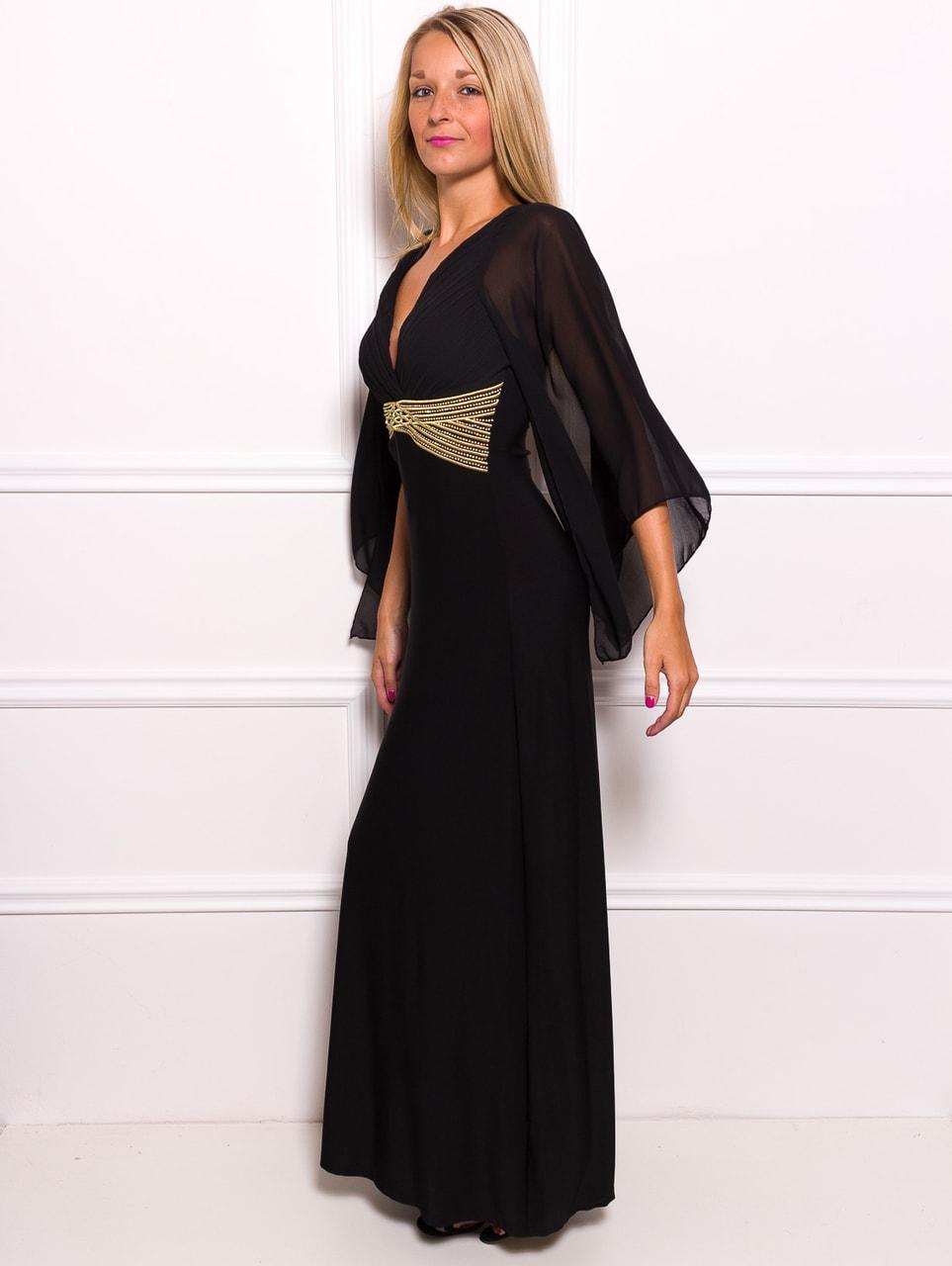Glamadise.sk - Spoločenské dlhé šaty s šifónovými rukáv - čierna ... 768b9a59751