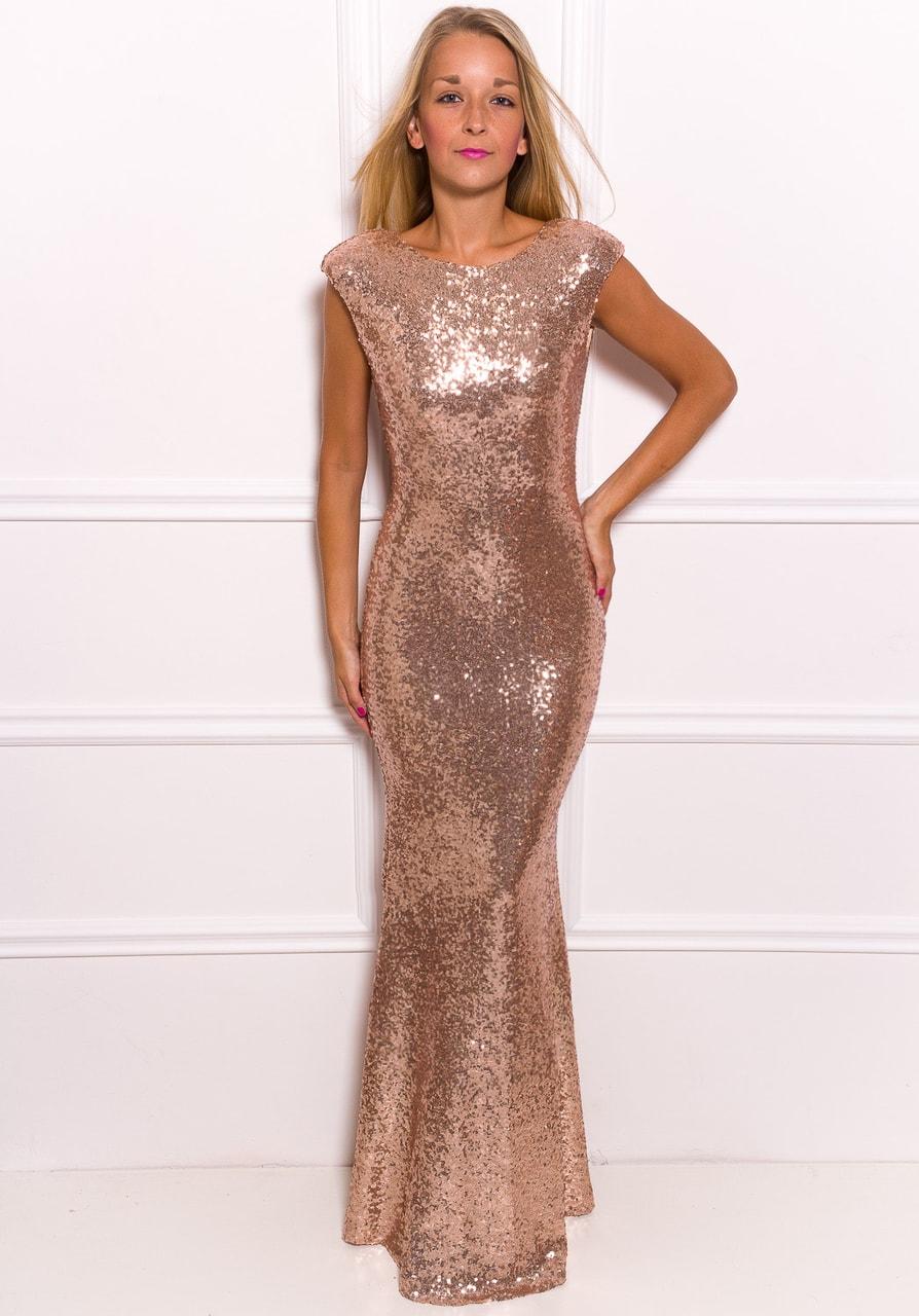 Glamadise.sk - Spoločenské Luxusné dlhé šaty s flitrami - zlatá ... 8d37e878fef