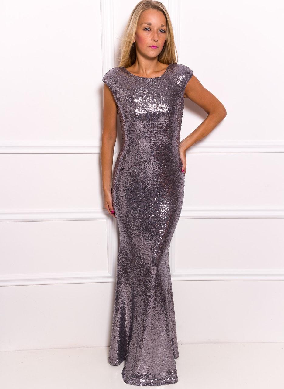 Společenské luxusní dlouhé šaty s flitry - stříbrná - Due Linee ... e8904bce56