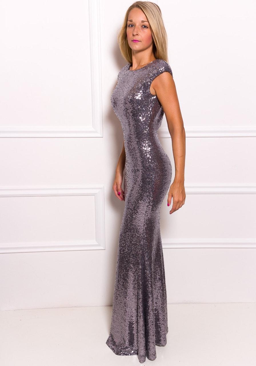 Společenské luxusní dlouhé šaty s flitry - stříbrná - Due Linee ... 1432080bfb