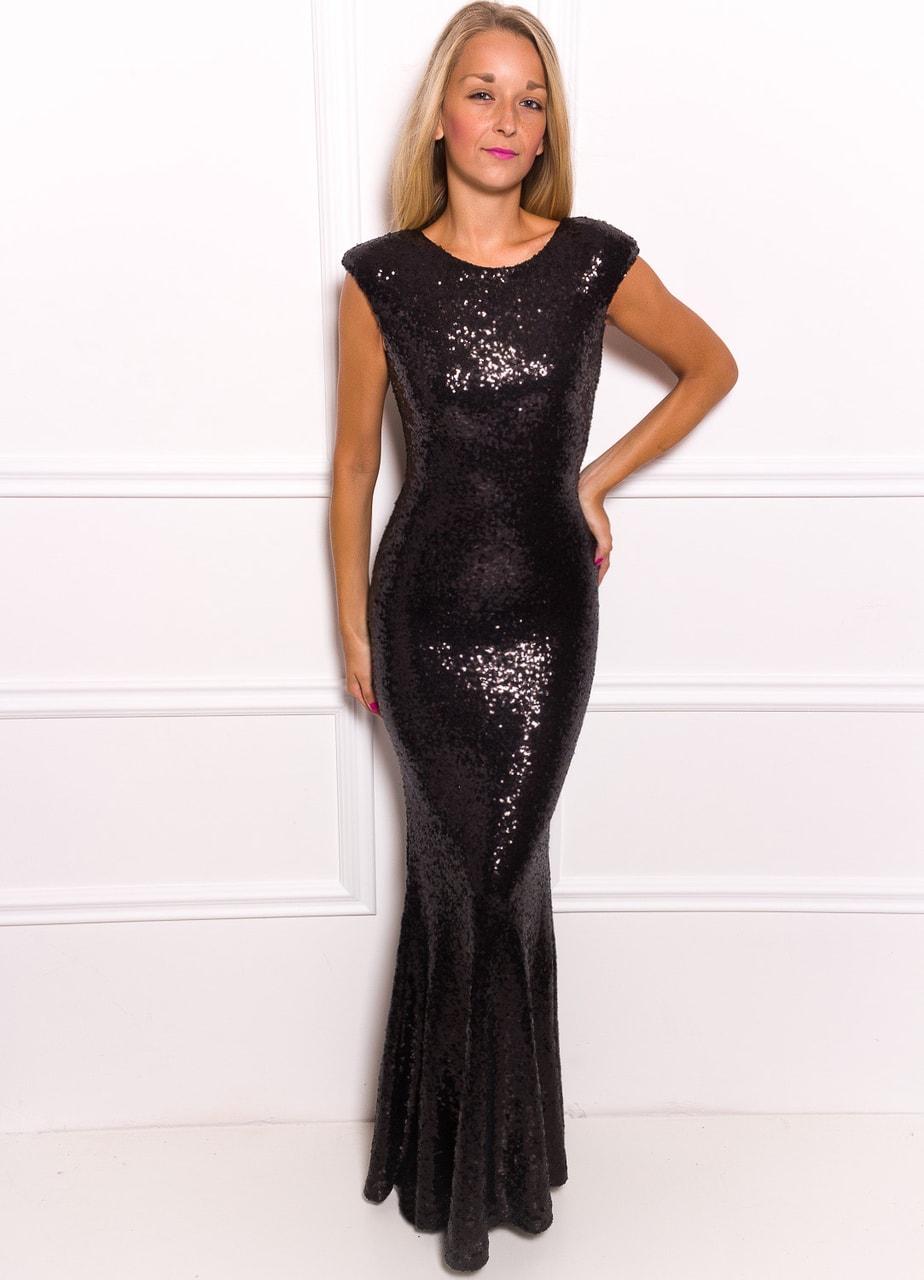 Spoločenské Luxusné dlhé šaty s flitrami - čierna ... 160bacad1d3